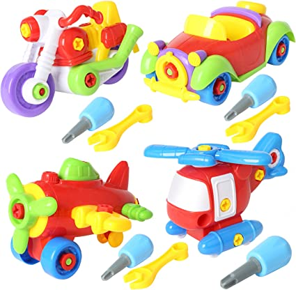 rainbow yuango Sets of 4 Take Apart Toys Set 7 STEM Learning Toys Educational Construction Tool Engineering Kit For Kids Building Airplane Racing Car Motorcycle Play Set Chenghai