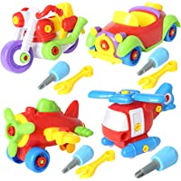 "Sets of 4 Take Apart Toys Set 7"" STEM Learning Toys Educational Construction Tool Engineering Kit for Kids Building Airplane Racing Car Motorcycle Play Set"