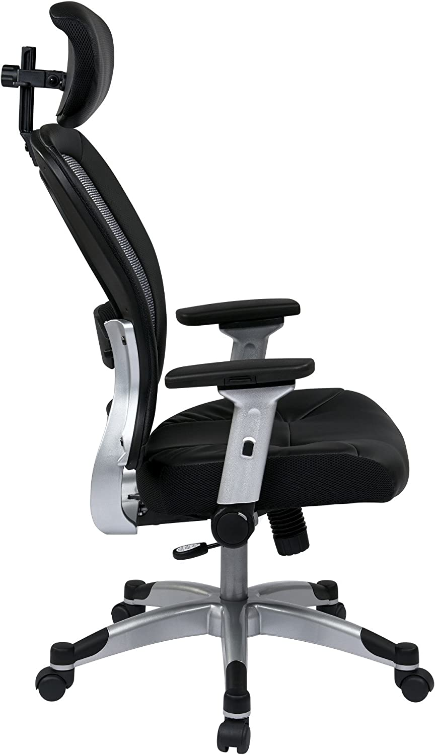 SPACE Seating Light Air Grid Back and Eco Leather Seat Base Managers Chair with Adjustable Headrest Black