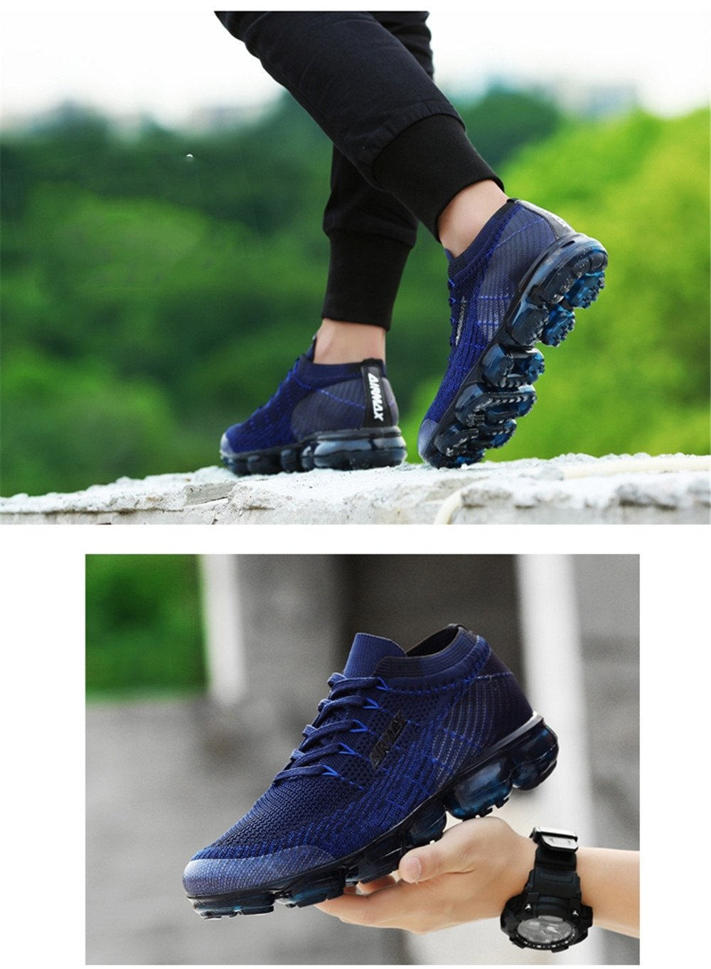 LUONEKE AIR 2018 Breathable Sneakers Sports Shoes for Men Woman for Running Boys Fitness and Leisure B07CSMQW7H US_8/EUR_41/CM_25.5|Blue