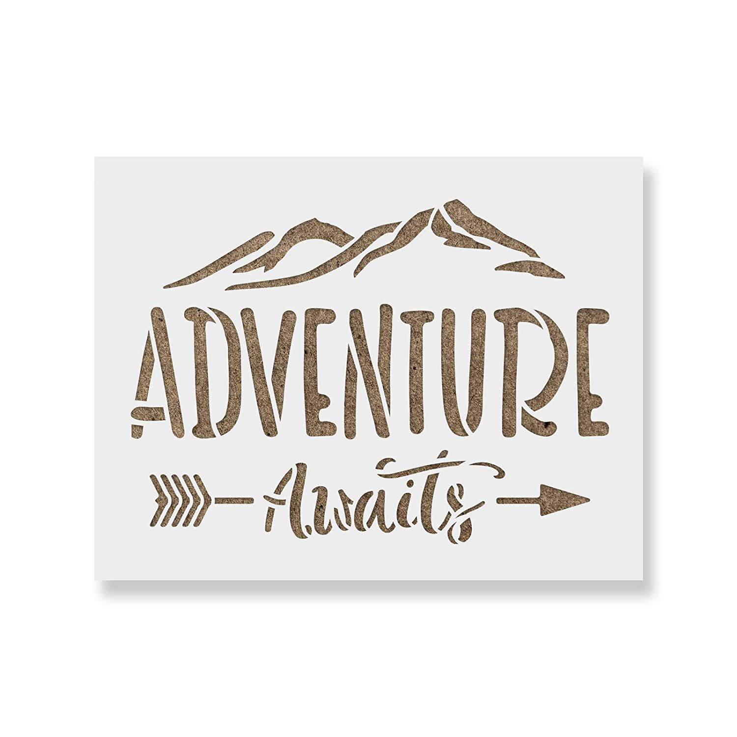 Adventure Awaits Stencil Template for Walls and Crafts - Reusable Stencils for Painting in Small & Large Sizes Stencil Revolution