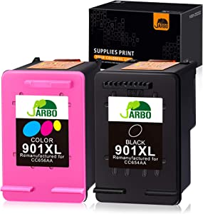 JARBO Remanufactured 901 Ink Cartridge for HP 901 901XL, HP 901 XL, 1 Black+1 Tri-Color, Used with HP Officejet 4500 J4500 J4524 J4540 J4550 J4580 J4624 J4640 J4660 J4680, Ink Level Display