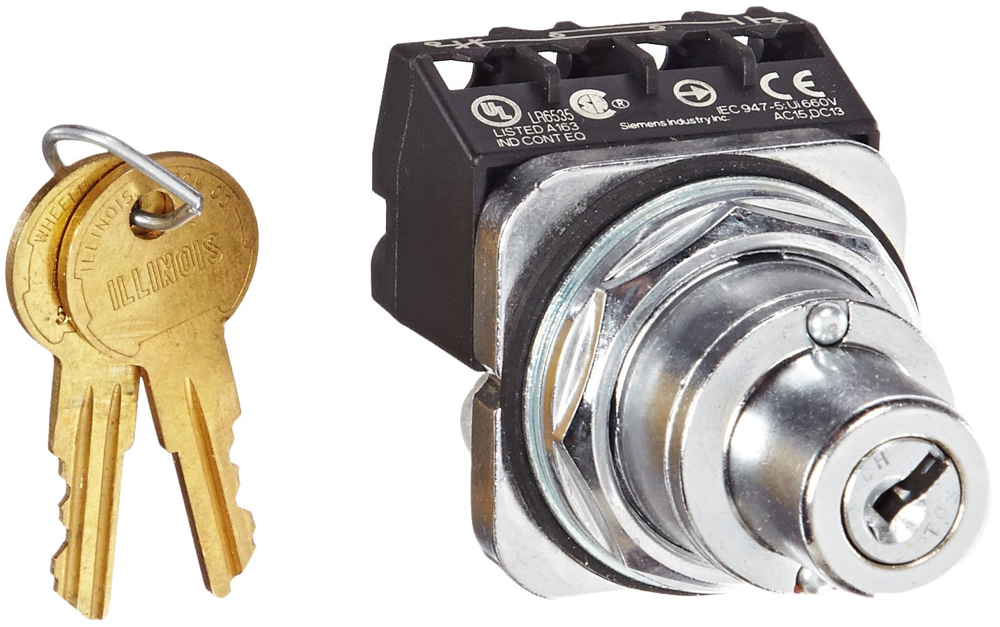 Siemens 52SC6AEA1 Heavy Duty Key Operated Selector Switch Unit, Water and Oil Tight, 2 Positions, Maintained Operation, Key Removable In All Positions, A Cam, 1NO + 1NC Contact Blocks