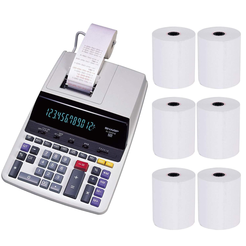 Sharp EL2630PIII Heavy Duty 2-Color Printing Calculator with Clock and Calendar Bundle (7 Items)