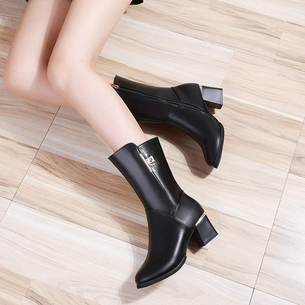 ZHRUI ZHRUI ZHRUI Bottes Chaussures pour Dames Bottes pour Dames Mode féminine Carré en Cuir Zipper Chaud Épais Bottes Martin Bout Rond Chaussures Décontractées Bottes d'hiver (coloré : Noir, Taille : 38 EU)B07KJZXNY6Parent 2cc2bc