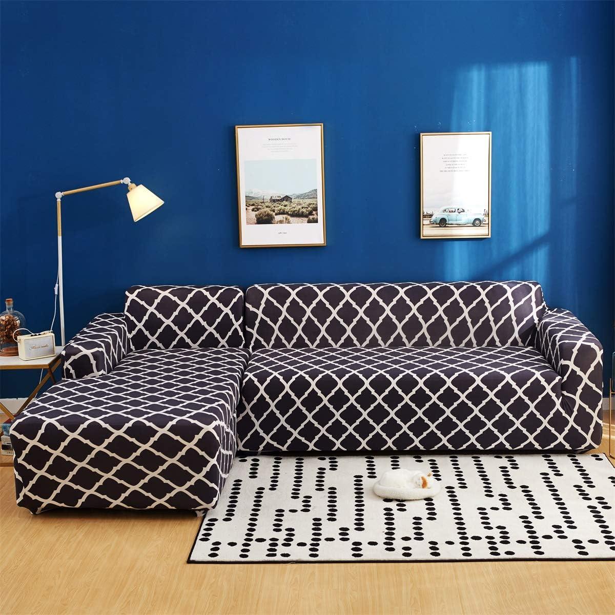 2pcs Oreiller Couvre pour Canap/é en L Canap/é JIAN YA NA Canap/é Extensible Covers Polyester Spandex Housse Polyester Tissu Stretch Slipcovers Beige