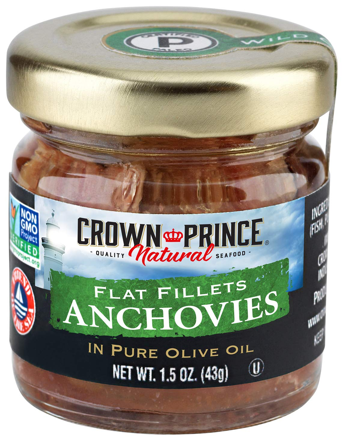 Crown Prince Natural Flat Fillets of Anchovies in Pure Olive Oil, 1.5-Ounce Jars (Pack of 18)