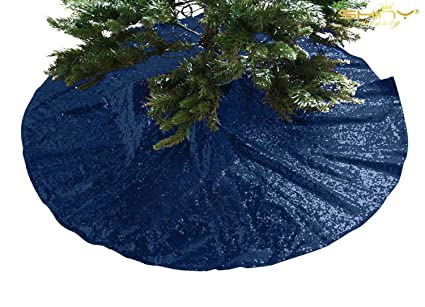 shinybeauty embroidered and sequined holiday navy blue sequin tree skirt 24inch christmas tree
