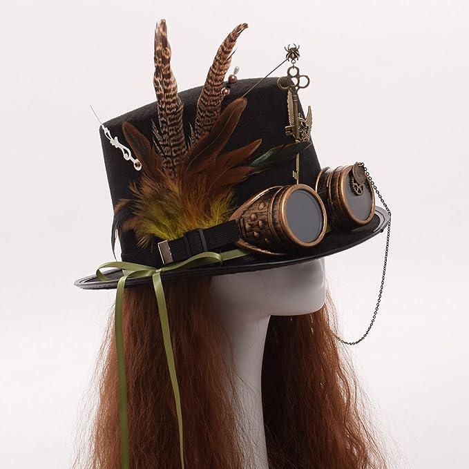 GRACEART unisexo Steampunk sombrero gafas de protección Sombrero de copa H3Enj