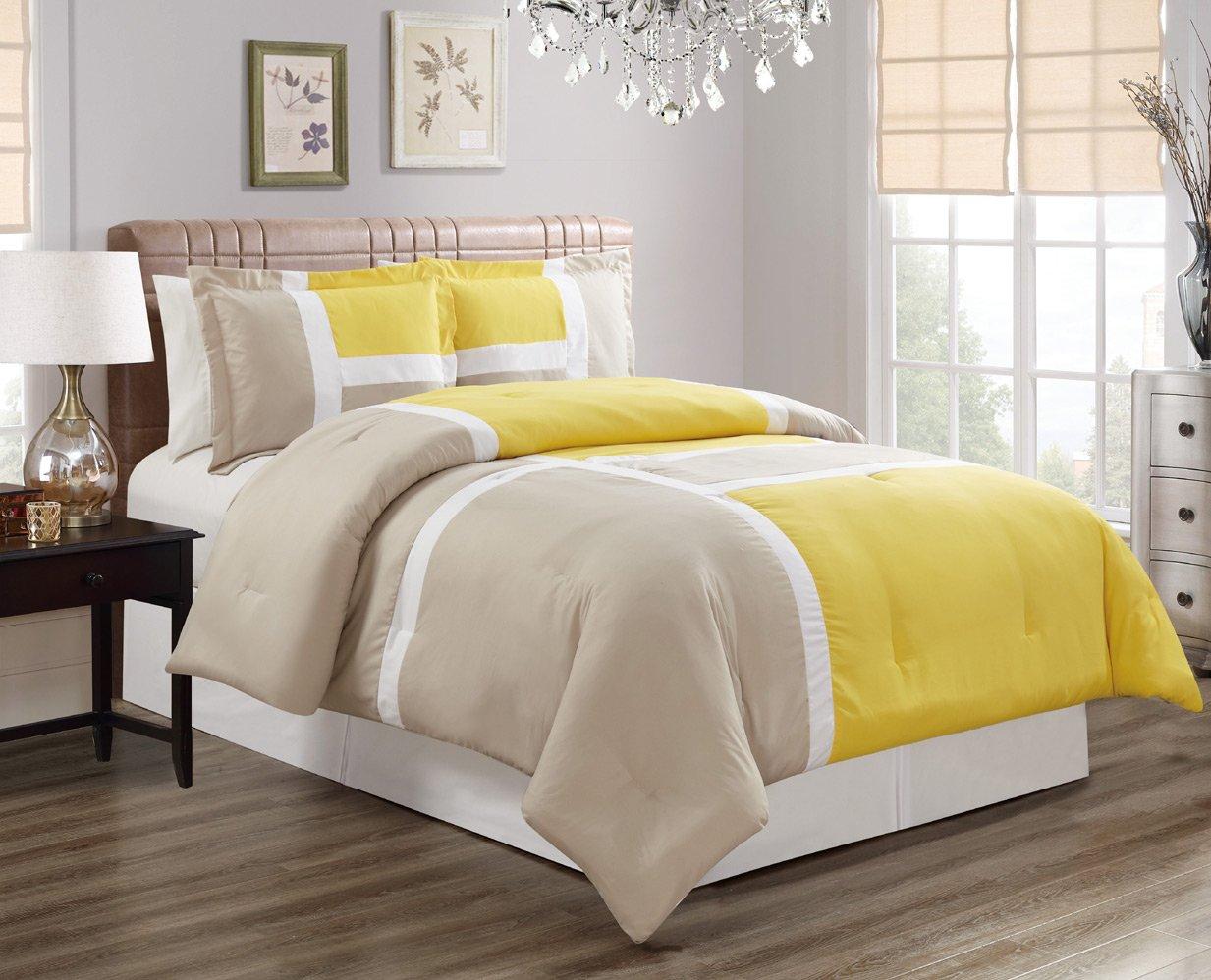 grandlinen 3ピース高級Gooseダウン代替掛け布団セット、フル/クイーンwithコーナータブ布団挿入 ツイン イエロー B07CM8VXRH ツイン Yellow / Grey Yellow / Grey ツイン
