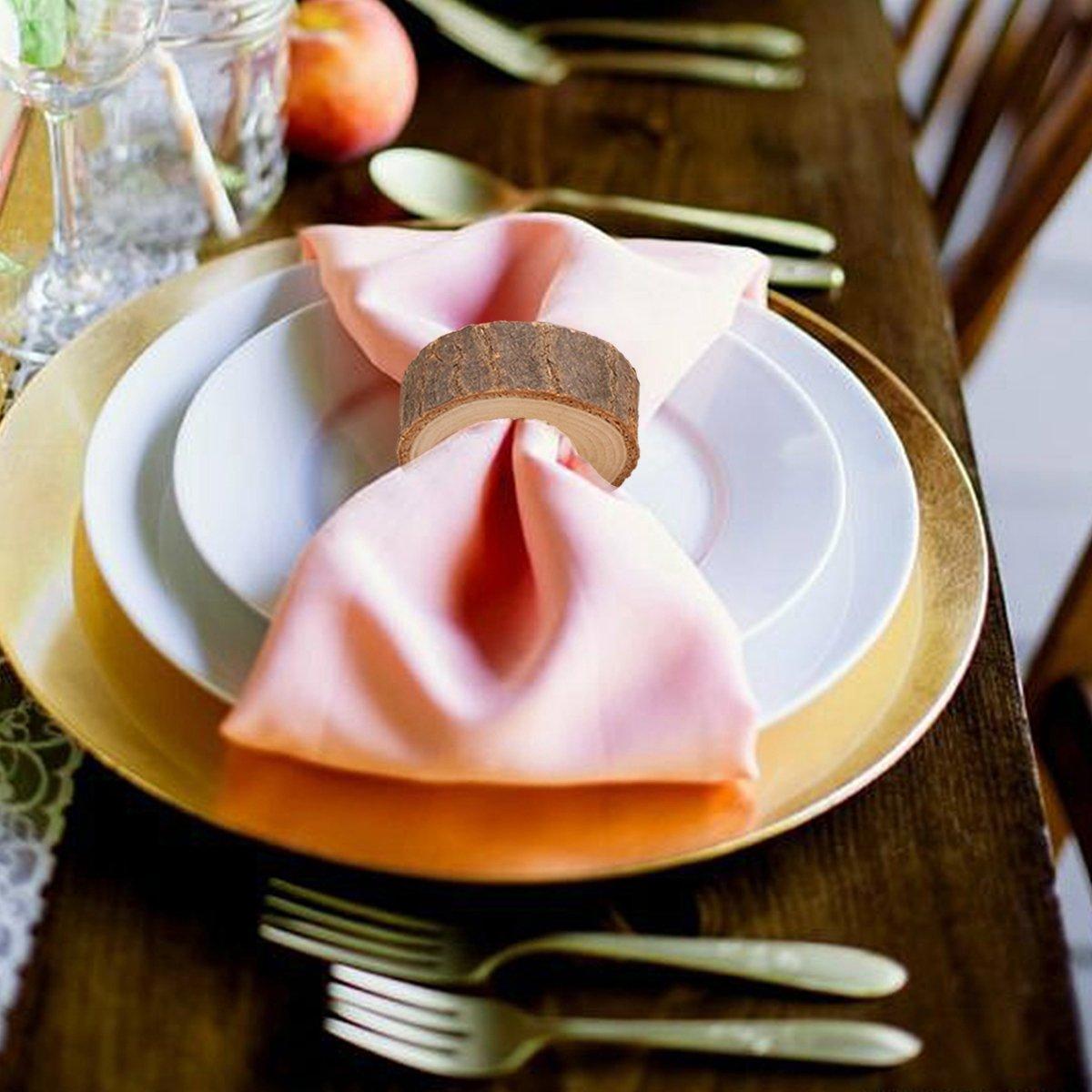 Healifty 10/pcs Cercle en Bois Rond de Serviette DIY Kits de Loisirs cr/éatifs Mariage Pary Table Ornement