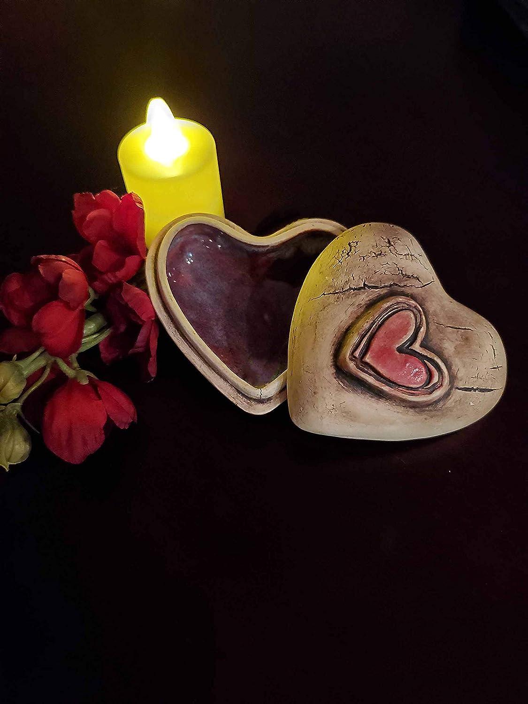 Pottery Heart Box Valentines Heart Gift Handmade Ceramic Heart Heart Shape Box Small Clay Heart Valentines Gift Decorative Heart