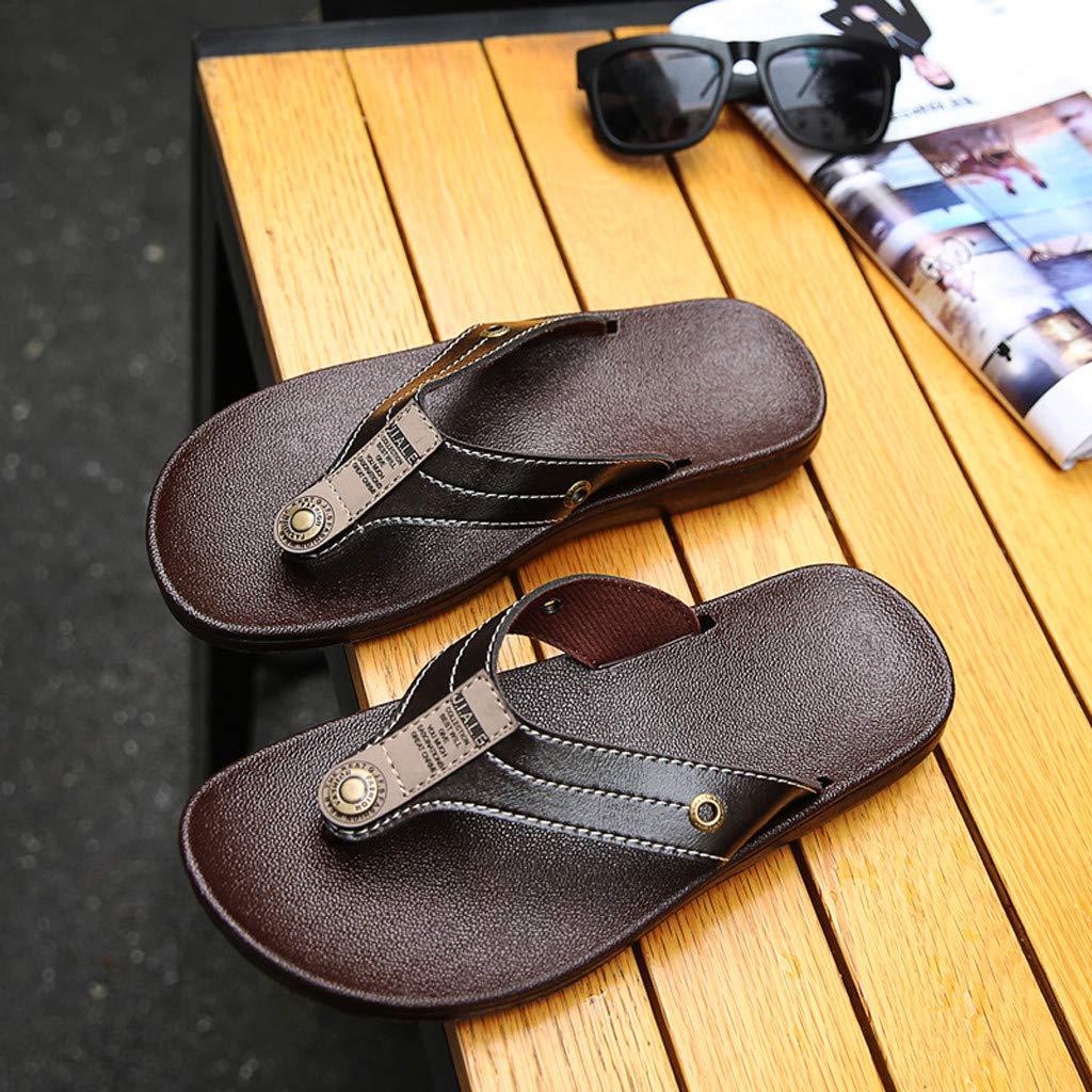 Colmkley Men Flip-Flops Flat Sandals Indoor Outdoor Non-Slip Slippers Beach Shoe