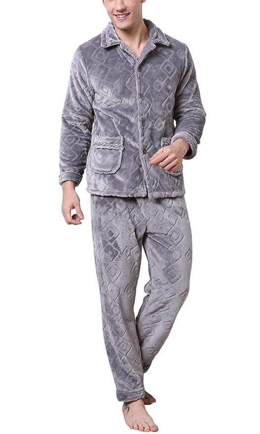 Dolamen Pijamas para Hombre Franela, Hombre Pantalones de pijama largos Primavera Suave y suave, Hombre camisones Pijamas Cuello en V con botones: ...