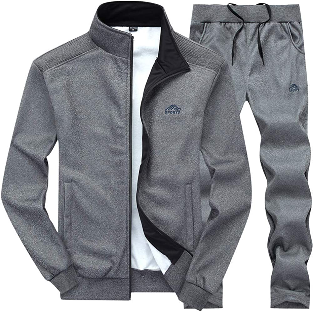 Alion Mens 2 Piece Running Jogging Track Suit Jacket and Long Pants Gym Training Wear
