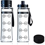 New Clear Sports Water Bottle, Best for Measuring H2o Intake, Tritan BPA Free, Time Tracker w/ Goal Timer, Non-Toxic, 32 oz, Top Plastic Product - Includes Strap for Carrying