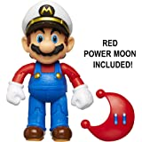 """World of Nintendo 4"""" Odyssey Mario with Cappy Action Figure 4"""" with Power Moon"""