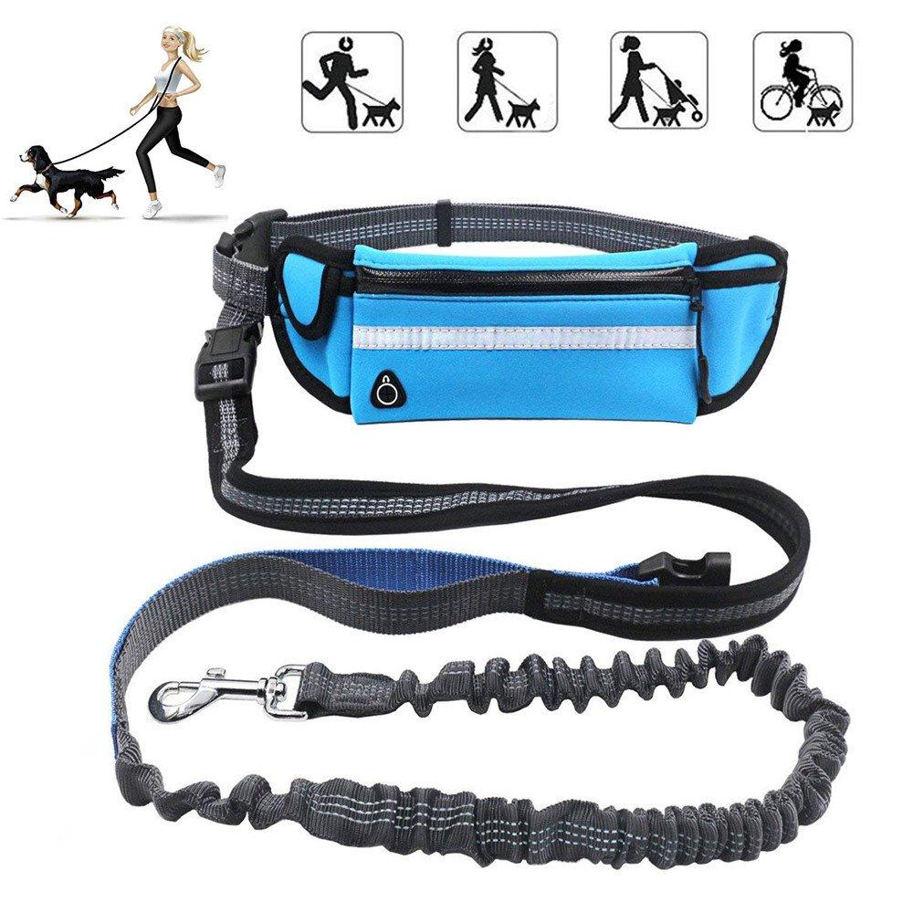 Dxable - Laisse mains-libres ergonomique de 1,6 m Avec sac à déjections, Idéale pour jogging et randonnées - Pour chiens de taille petite à moyenne - Ajustable DX02007