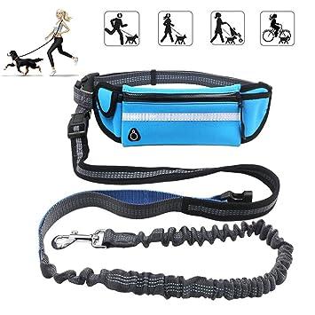 KeepGoo Correa para perros manos libres con riñonera, 1.6M correa para perros con cintura de bolsas múltiples para la cintura paraSenderismo Correr - ...