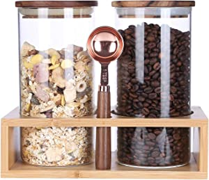 KKC HOME ACCENTS Airtight Glass Coffee Bean Storage Container,Glass Storage Jars for Loose Leaf Tea,Ground Coffee,Glass Canisters Wood Lid with Spoon for Kitchen Counter,39 Floz,Pack of 2
