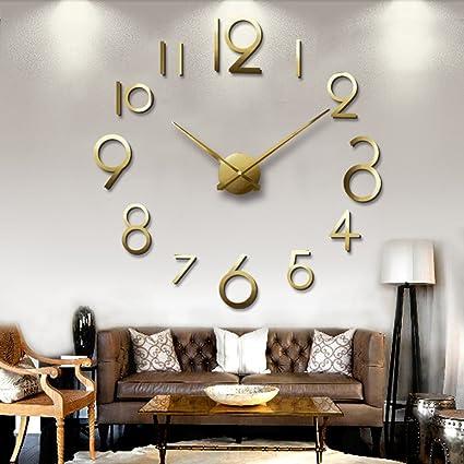 CDYLL Moderno 3D Gran Reloj De Pared Silenciado Reloj De Pared Bricolaje Grande Reloj Pegatinas Calcomanías