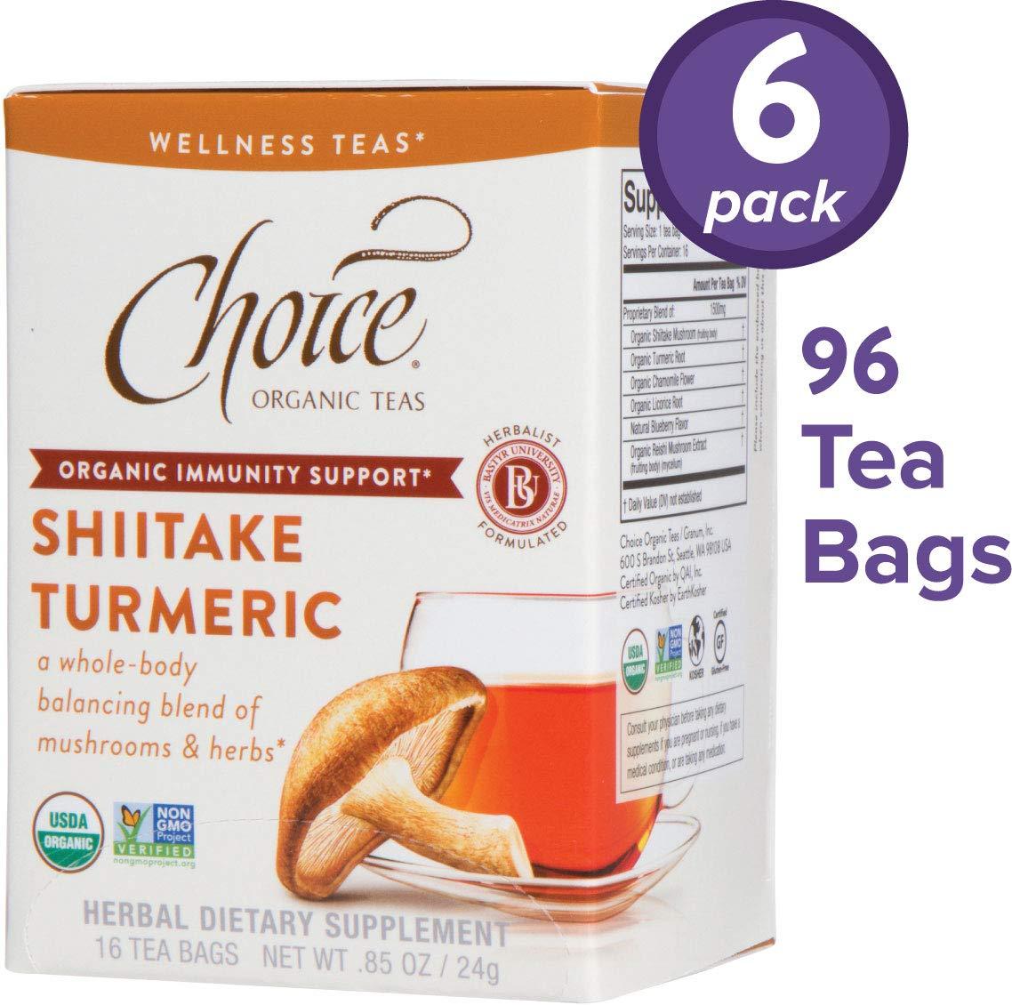 Choice Organic Teas Wellness Teas, 6 Boxes of 16 (96 Tea Bags), Shiitake Turmeric, Caffeine Free