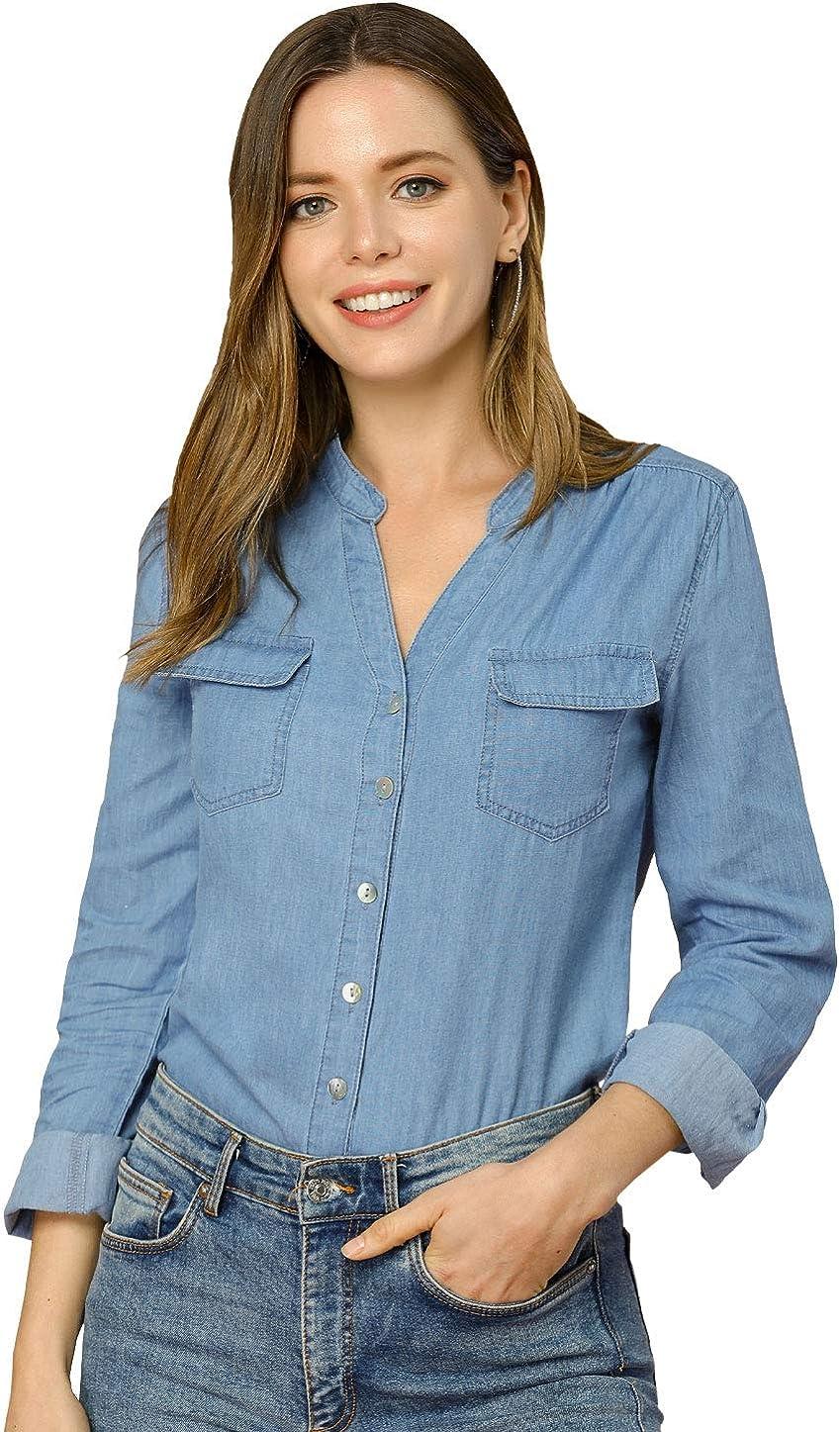 Allegra K Women's Denim Shirt Long Sleeve Cotton Button Down Blouse