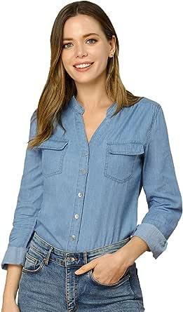 Allegra K Camisa con Botones Tela Vaquera Cuello Alto Partido Manga Larga Bolsillo En El Pecho para Mujer