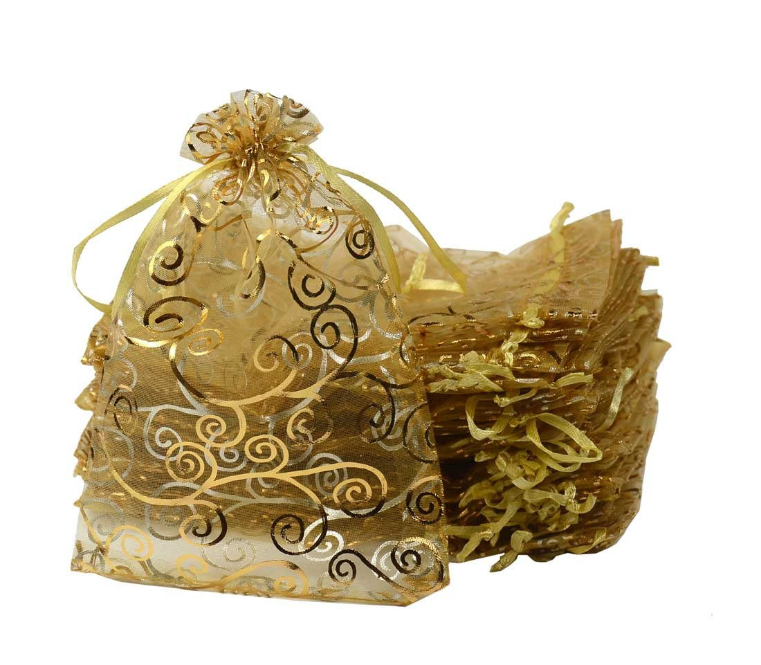 UHANGETH 100Pcs Organza Bags Jewelry Party Wedding Favor Drawstring Pouches Gift Bags (5x7, Gold-Gold)