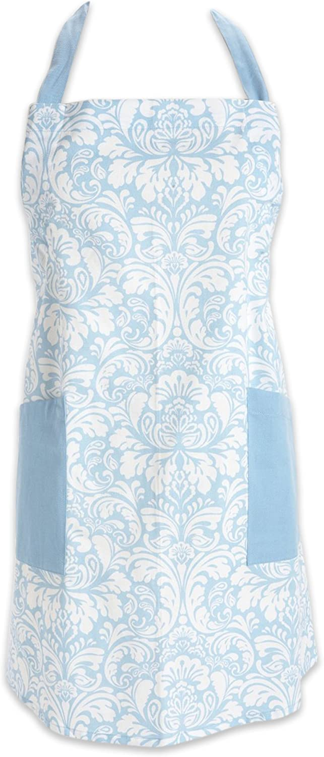"""DII Cotton Adjusatble Women Kitchen Apron with Pockets and Extra Long Ties, 37.5 x 29"""", Cute Apron for Cooking, Baking, Gardening, Crafting, BBQ-Damask Light Blue"""