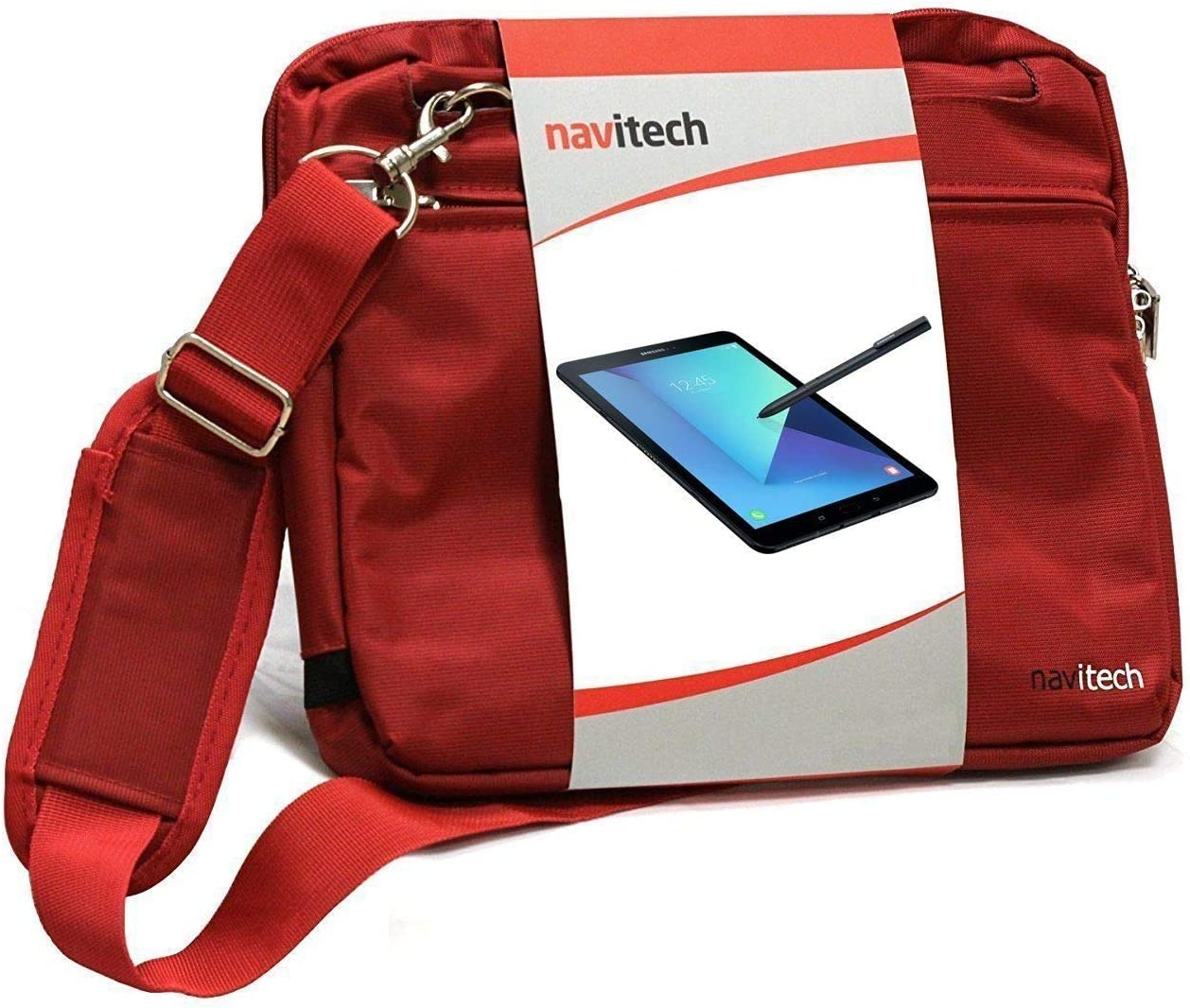 Navitech Red Sleek Premium Water Resistant Shock Absorbent Carry Bag Case Compatible with The LG G Pad F 8.0 | LG G Pad V495 | LG G Pad X 8.0 V520 | LG GPad X2 8.0 Plus V530 | LG G Pad V400