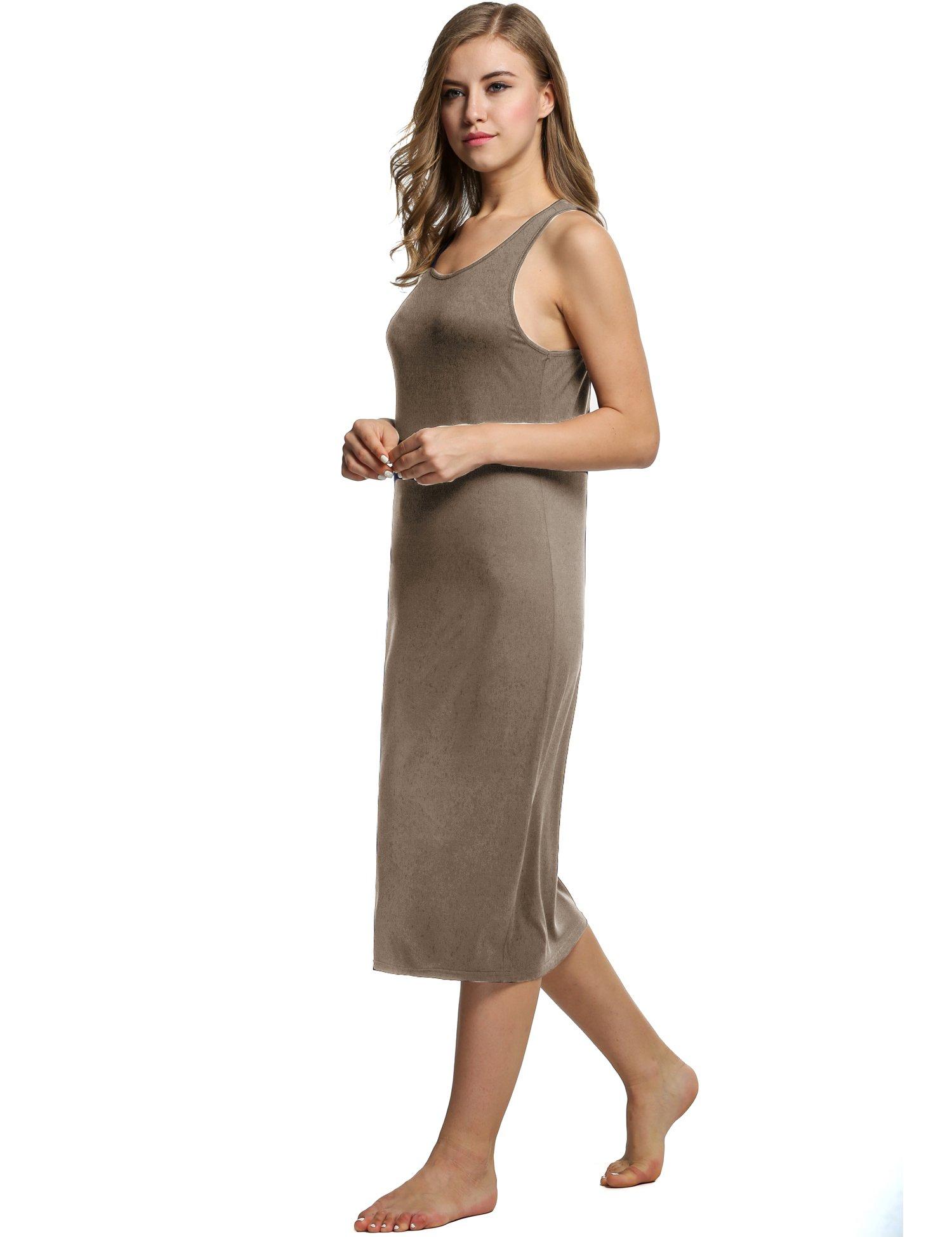 Avidlove Womens Cotton Gown Sleeveless Nightshirt Sleepwear Racerback Bodycon Dress,Camel,Small