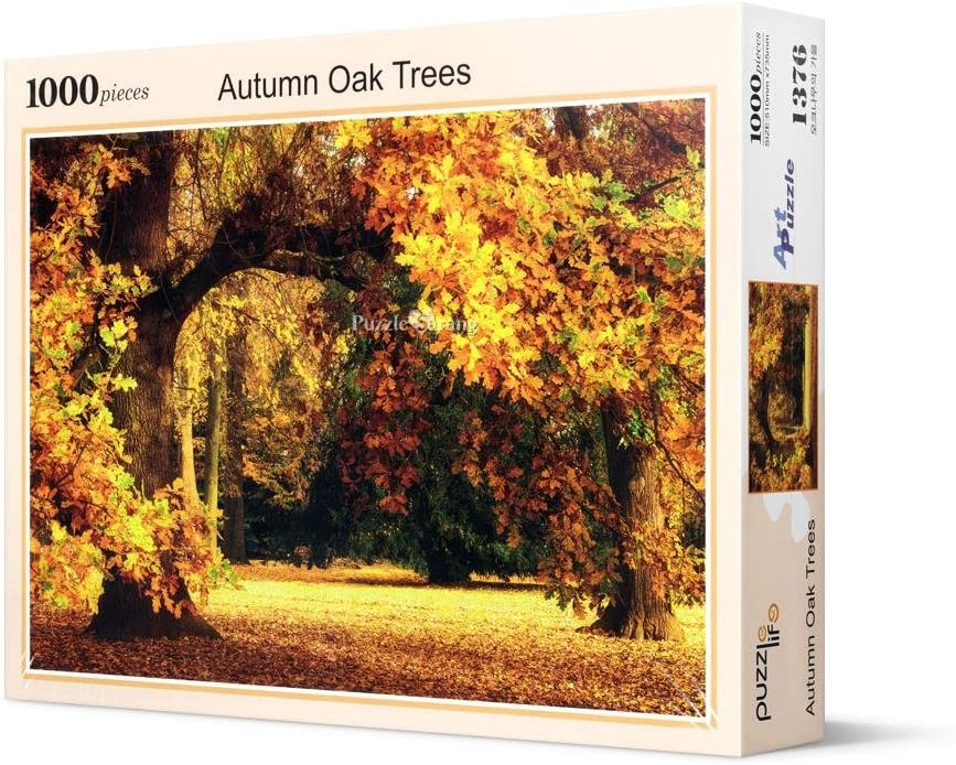 Queenie Stained Art 1000 Piece Autumn Golden Yellow Forest Ginkgo Trees Fallen Leaves Fall Deciduous Landscape Adults Games Wooden Jigsaw Puzzles for Christmas Birthday Gifts