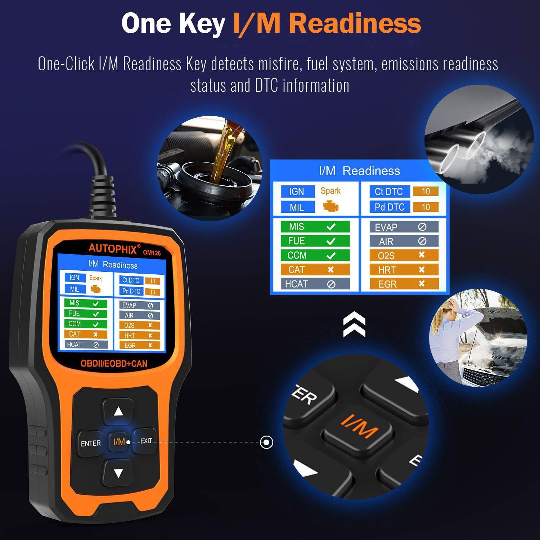AUTOPHIX OBD2/Scanner Auptohix Om126/EOBD OBDII Outil de Diagnostic Auto Lecteur de Code de r/éinitialisation pour de Voyant davertissement de Gestion de Moteur