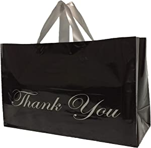 Extra Large Plastic Thank You Bags with Handles Bulk 16x6x12 Big Reusable Shopping Frosted Black Glossy Merchandise (50 Bags) Premium Quality 4 Mil Grocery Retail Boutique with Cardboard Bottom