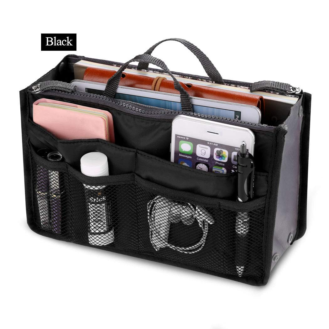 Fashion Women Multifunction Travel Cosmetic Makeup Insert Pouch Toiletry Organizer Handbag Storage Pur Closet Systems (Black)