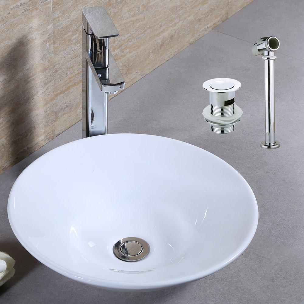 PANBADO® Ceramic Basin Sink White Cloakroom Washing Up Bowl Bathroom ...