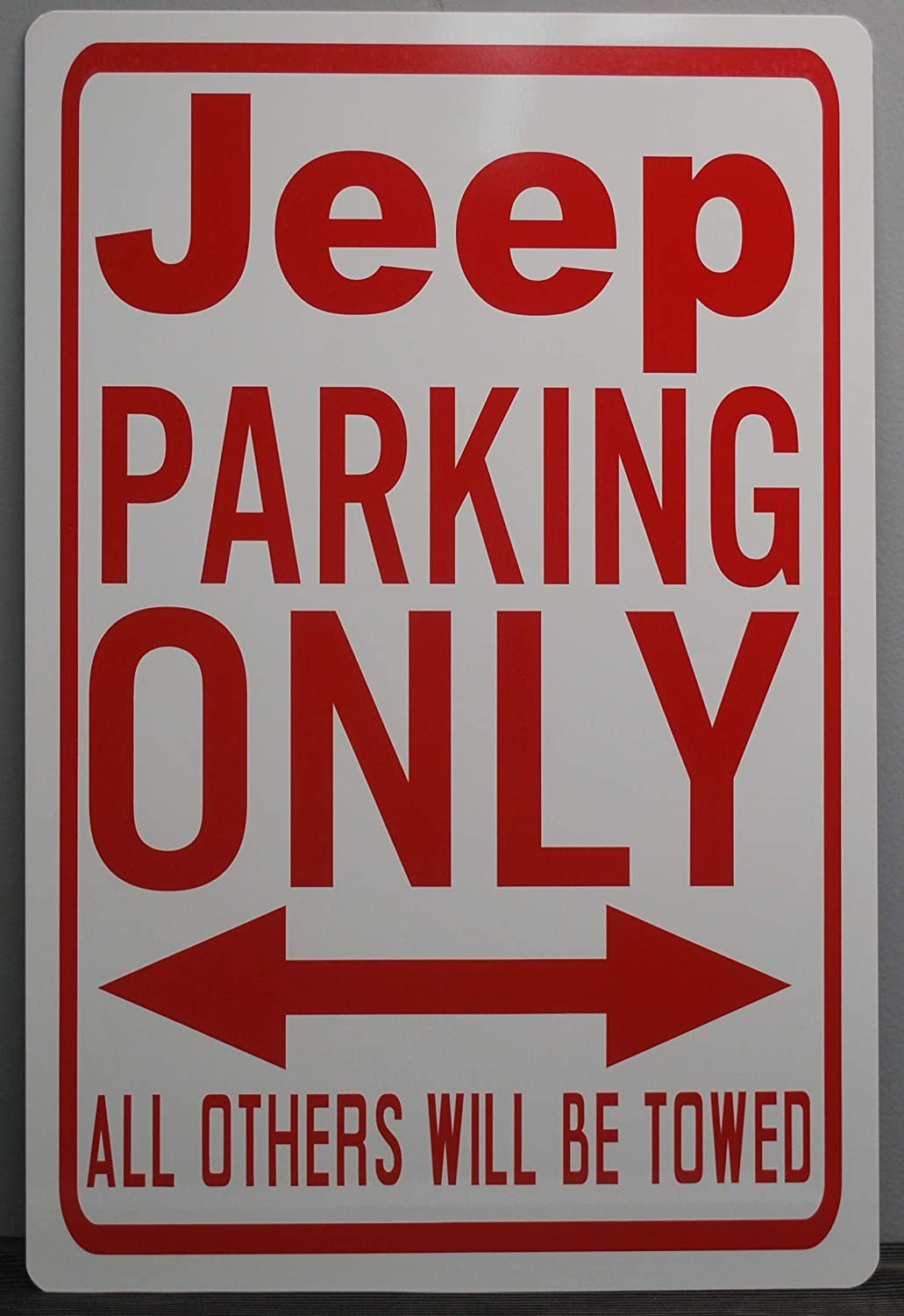 METAL STREET SIGN JEEP PARKING ONLY 12X18 FITS JEEP WILLYS WRANGLER RUBICON CHEROKEE WAGGONEER GLADIATOR CJ MAIL TRUCK 4X4 OFF ROAD ROCK BAR GARAGE MAN CAVE RESTAURANT SHOP HOME OFFICE WALL ART GIFT