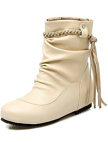 Women's Dressy Tasseled Fringes Low Heels Heighten Slouchy Short Ankle Boots