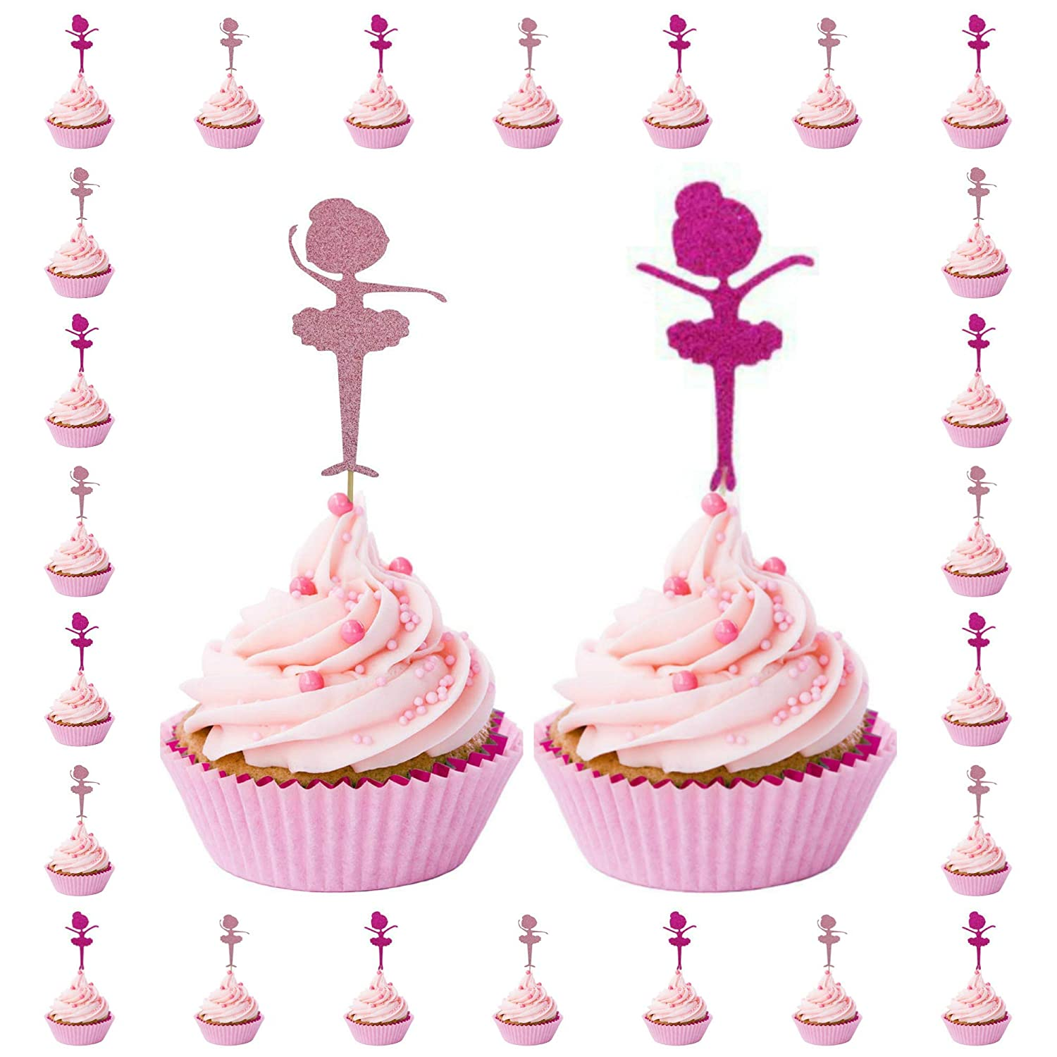 07314199 Amazon.com: Hot Pink and Pink Glitter Ballerina Cupcake Toppers, Ballet,  Dancers, Tulle- Quality (Set of 20 Ballerinas): Kitchen & Dining