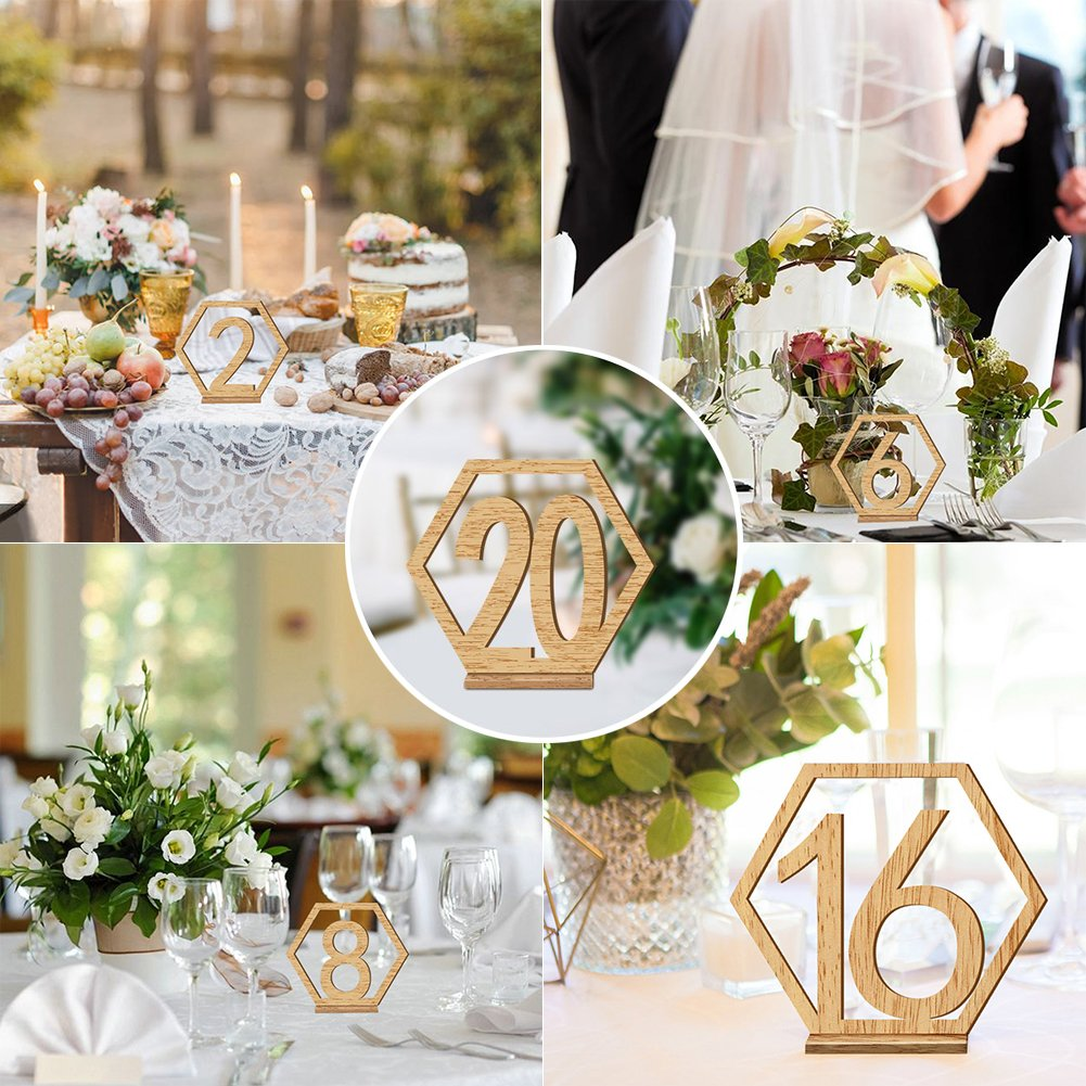Rely2016 Wooden Table Number, 1-20 Wedding Wood Table Numbers Hexagon Geometric Reception Stands Décor for Wedding Banquet Birthday Party Events (1-20) by Rely2016 (Image #6)