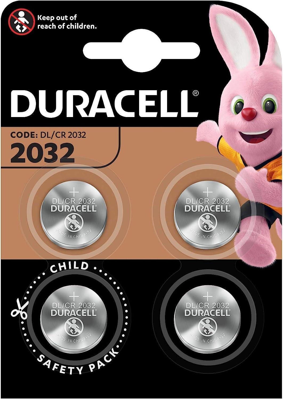 Paquete de Pilas cr 2032 3v Duracel - Pila tipo botón de litio especial para dispositivos electrónicos, paquete de 4.