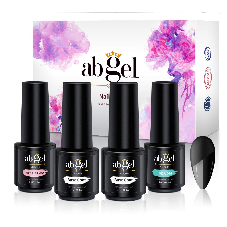 ab gel Set Matte Top Coat High Gloss Top Coat + Base Coat 2pcs, Soak Off UV LED Gel Nail Polish Quick Dry and Long Lasting (4Pcs 5ml)… : Beauty