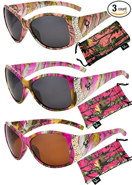 0b1277974d58 Hornz Hot Pink Camouflage Polarized Sunglasses for Women Rhinestone Accents    Free Matching Microfiber Pouch –