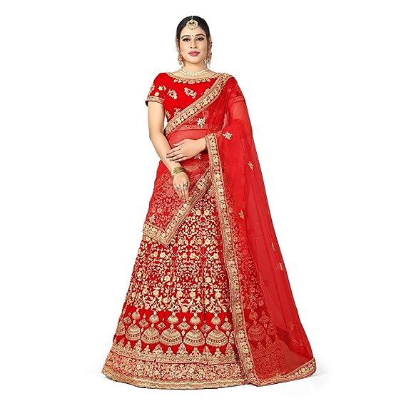 b60fb59045 Zaalima Fashion Women's Velvet Embroidered & Hand Work Semi-Stitched  Lehenga Choli and Dupatta Set (Red_Free_Size): Amazon.in: Clothing &  Accessories
