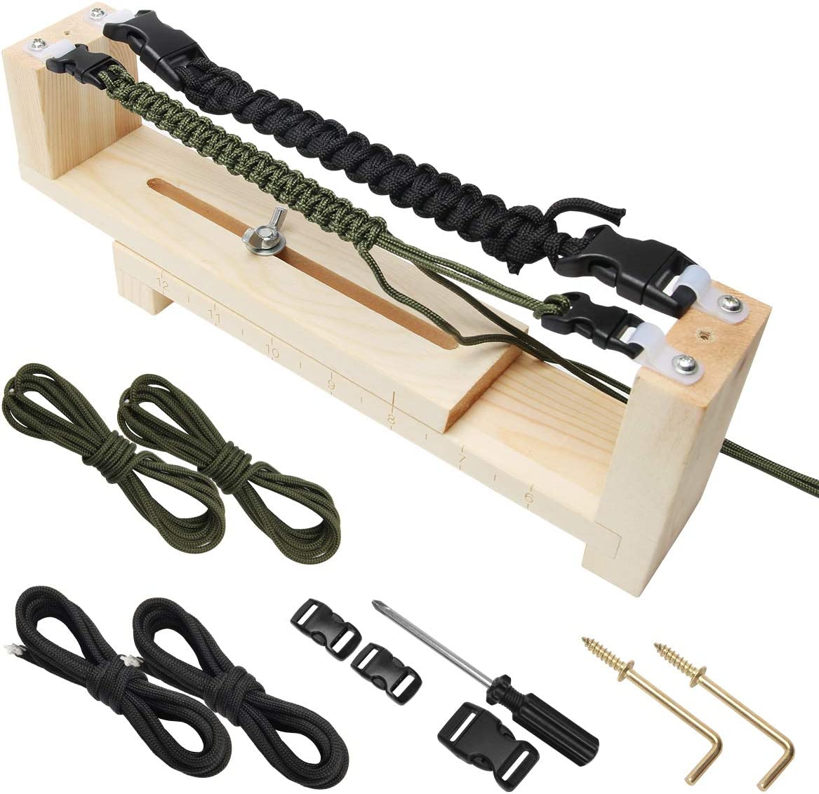 Ahier Paracord Jig Ezzzy-jig Paracord Bracelet Maker DIY Craft Tool Kit Paracord Jig Kit and Accessories Bracelet Jig with Parachute Cord and Quick Release Buckles Paracord Dog Collar Jig