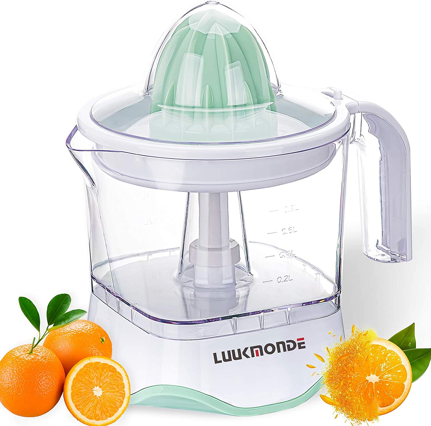 Electric Citrus Juicer with pulp control filter and dust proof cover, orange squeezer with two alternative cones and Professional Motor, Electric juice extractor for Grapefruit Orange Lemon by LUUKMONDE
