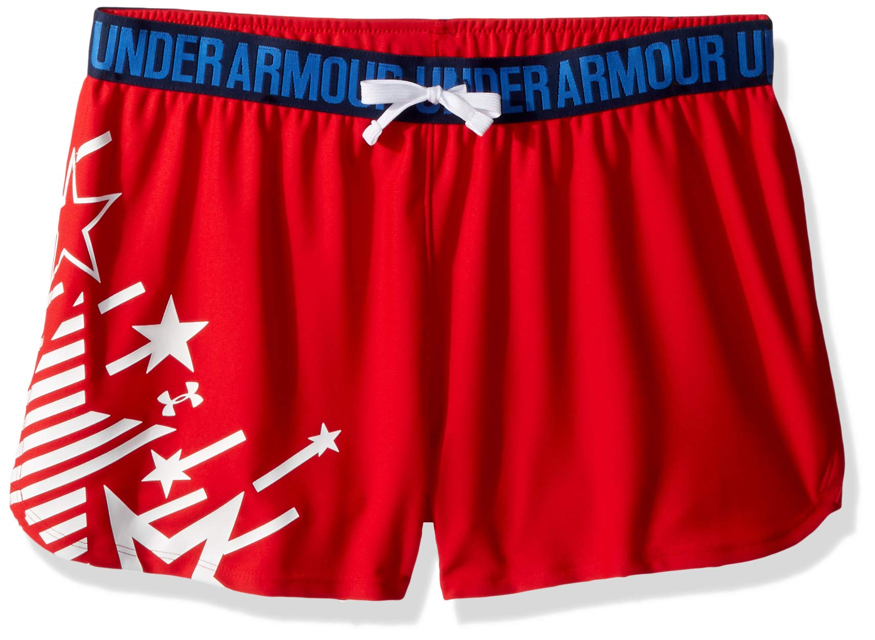 Under Armour Girls Americana Play Up Short, Pierce /White, Youth X-Small
