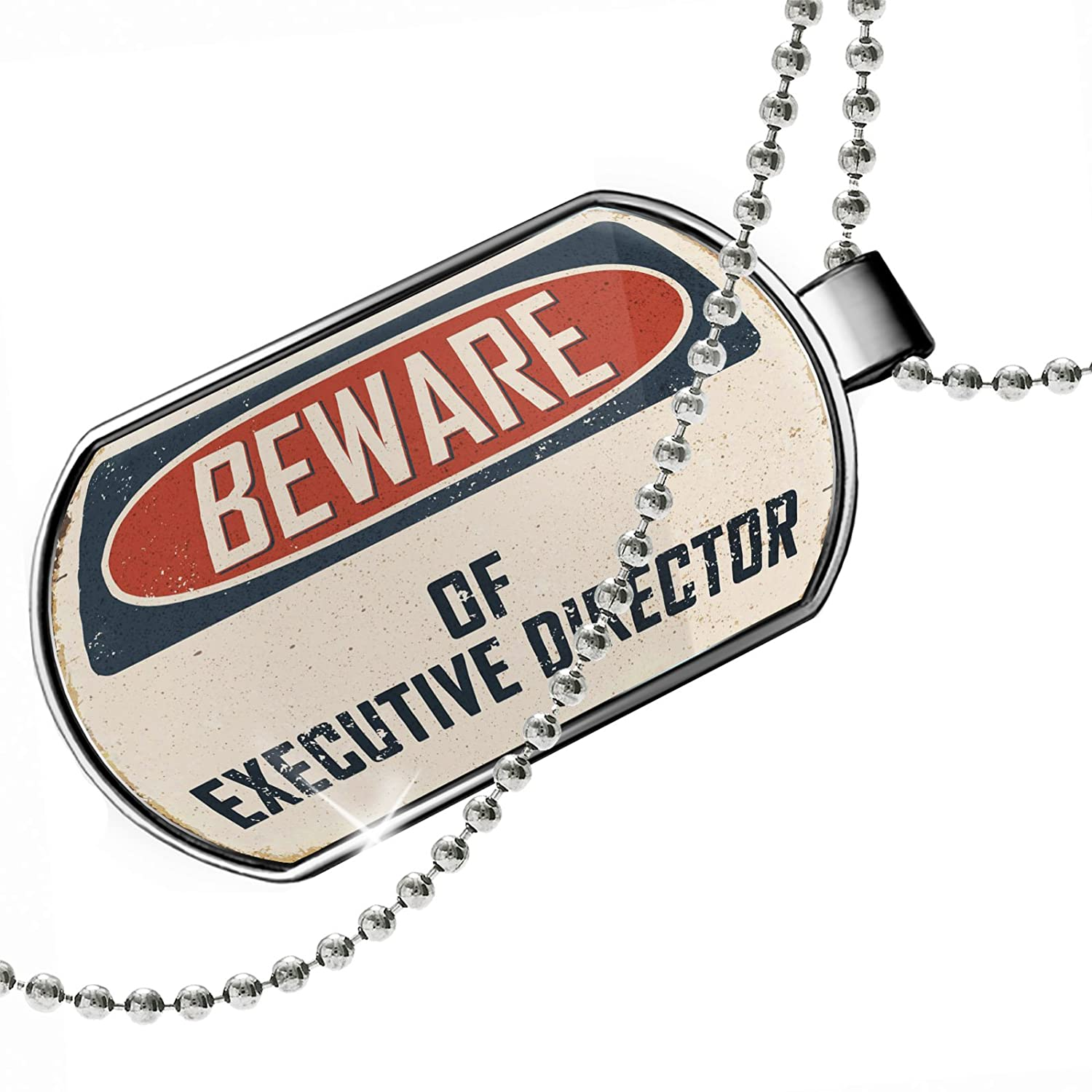 NEONBLOND Personalized Name Engraved Beware of Executive Director Vintage Funny Sign Dogtag Necklace