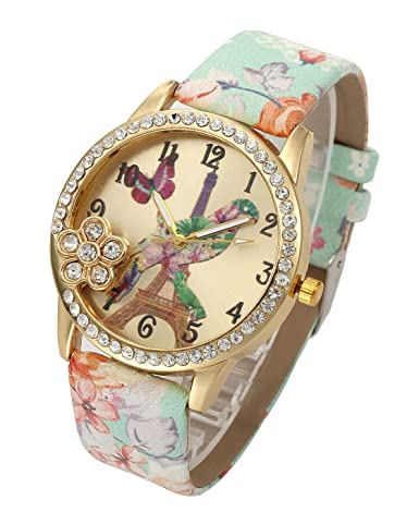 c5970ddce Amazon.com: Top Plaza Womens Girls Fashion Beautiful Leather Analog Quartz Wrist  Watch Flower Leather Strap Bird and Tower Pattern Gold Case Dress Watches  ...
